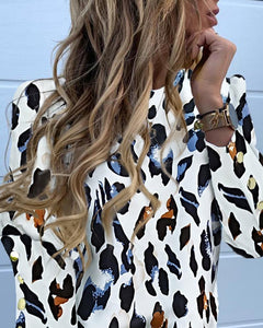 TOPS Abstract Leopard Print Long Sleeve Popper Cuff Blouse - EK CHIC