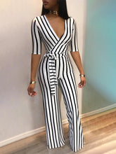 Load image into Gallery viewer, JUMPSUIT Deep V One Piece Striped Elegant Jumpsuit - EK CHIC