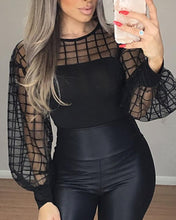 Load image into Gallery viewer, TOPS Black Sleeve Sheer Grid Mesh Casual Blouse - EK CHIC