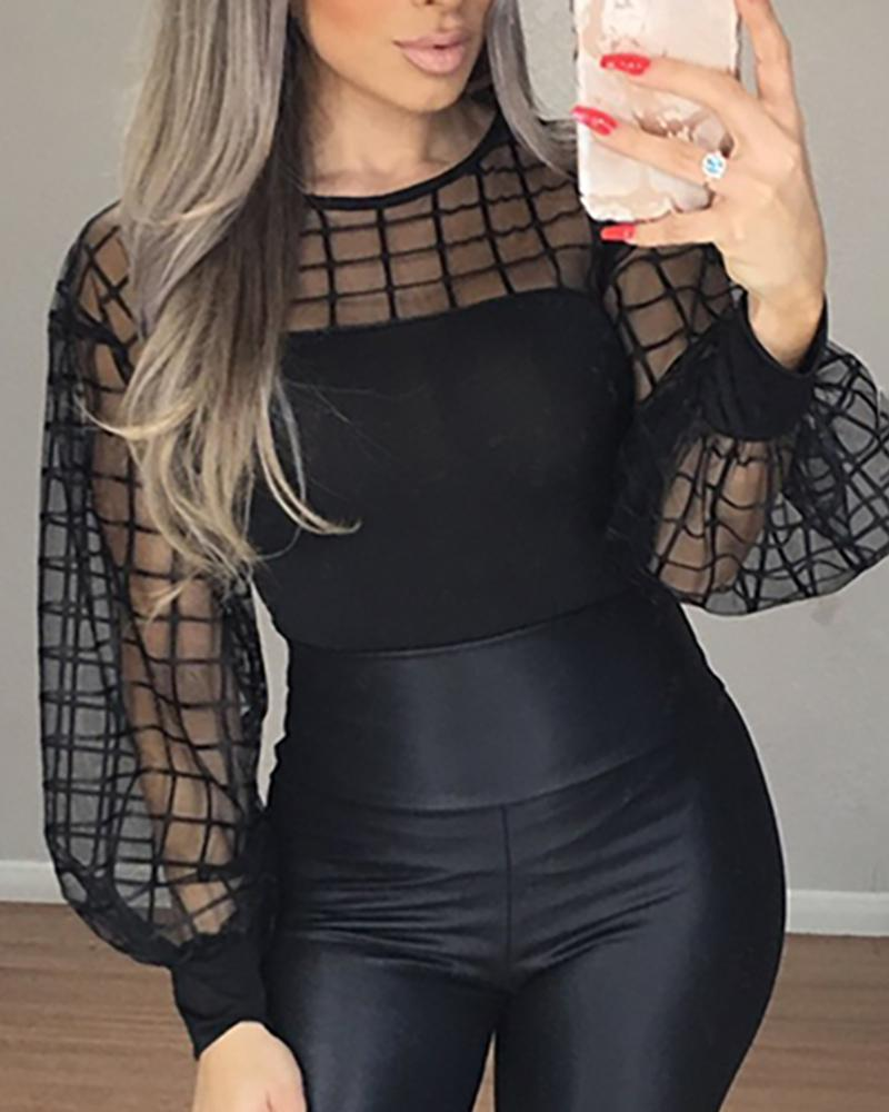 TOPS Black Sleeve Sheer Grid Mesh Casual Blouse - EK CHIC