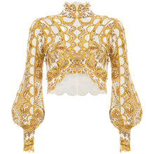Load image into Gallery viewer, TOPS Hollow Out Beading Pattern Short Style Gold Blouse - EK CHIC