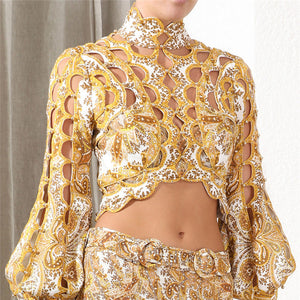 TOPS Hollow Out Beading Pattern Short Style Gold Blouse - EK CHIC