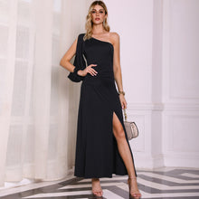 Load image into Gallery viewer, DRESS Elegant Black One Shoulder Slit Sleeve High Slit Party Dress - EK CHIC