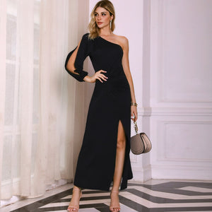 DRESS Elegant Black One Shoulder Slit Sleeve High Slit Party Dress - EK CHIC
