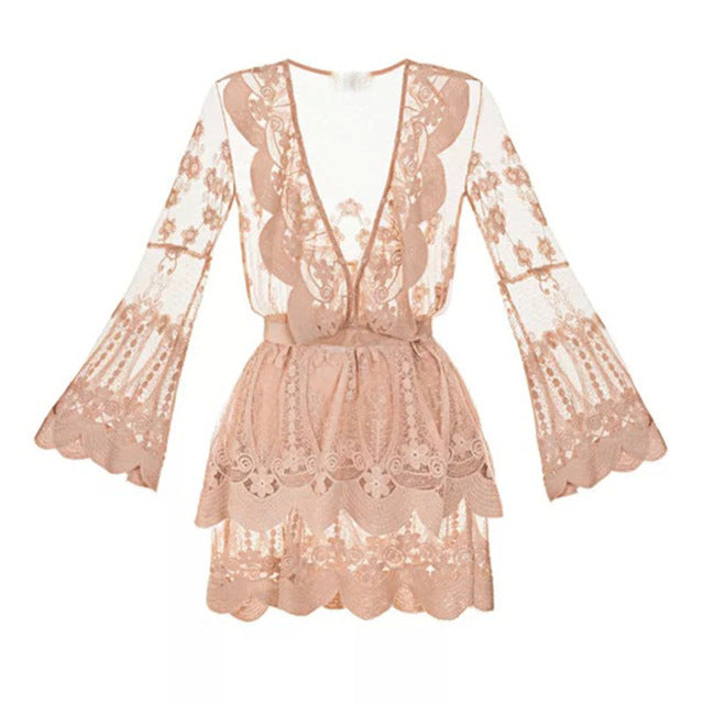 DRESS BOHO CHIC Runway Designer Lace Flare Sleeve Dress - EK CHIC