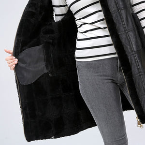 JACKET Sheep Shearing Medium Length Fur Coat - EK CHIC