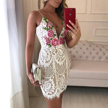 Load image into Gallery viewer, DRESS Embroidered Lace Crochet Overlay Mini Slip Dress - EK CHIC