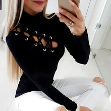 Load image into Gallery viewer, TOPS Lace-Up Eyelet Hollow Out Long Sleeve Casual Shirt - EK CHIC
