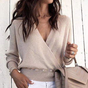 TOPS Solid V-Neck Long Sleeve Wrap Sweater - EK CHIC