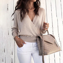 Load image into Gallery viewer, TOPS Solid V-Neck Long Sleeve Wrap Sweater - EK CHIC