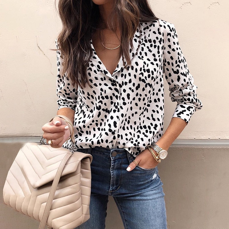 TOPS Office Button Down Polka Dot Blouse - EK CHIC