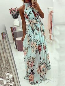 DRESS Halter Floral Print Knotted Cutout Back Slit Maxi Dress - EK CHIC