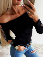 Load image into Gallery viewer, TOPS Off Shoulder Stud Ladder Cutout Sleeve Top - EK CHIC