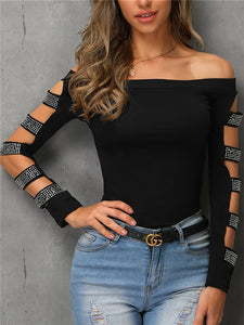 TOPS Off Shoulder Stud Ladder Cutout Sleeve Top - EK CHIC