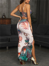Load image into Gallery viewer, DRRESS Spaghetti Strap V-Neck Maxi Peacock Feather Dress - EK CHIC