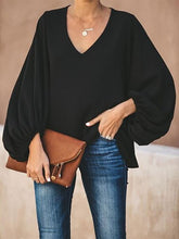 Load image into Gallery viewer, TOPS V Neck Puff Long Sleeve Loose Blouse - EK CHIC