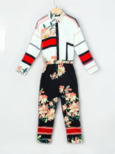 Load image into Gallery viewer, JUMPSUIT Floral Print Turn-Down Neck Long Sleeve Jumpsuit - EK CHIC