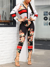 Load image into Gallery viewer, Floral Print Turn-Down Neck Long Sleeve Jumpsuit - EK CHIC