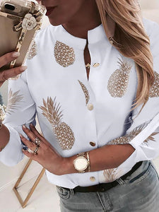 TOPS Pineapple Print Button Through Casual Shirt - EK CHIC