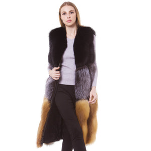 LUXURY FUR Genuine Luxury Red Fox And Silver Fox Waistcoat Natural Fur - EK CHIC
