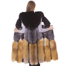 Load image into Gallery viewer, LUXURY FUR Genuine Luxury Red Fox And Silver Fox Waistcoat Natural Fur - EK CHIC
