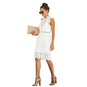 DRESS Lace Midi Elegant Slim Solid Dress - EK CHIC