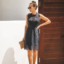 Load image into Gallery viewer, DRESS Lace Midi Elegant Slim Solid Dress - EK CHIC
