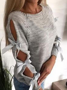 SWEATER Crew Neck Tie-Up Sleeve Sweater - EK CHIC