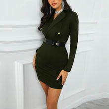 Load image into Gallery viewer, DRESS Splicing Mini PU Blazer Double Breasted Dress - EK CHIC