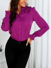 Load image into Gallery viewer, TOPS Purple Ruffles Design Long Sleeve Casual Shirt - EK CHIC