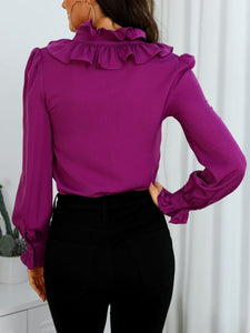 TOPS Purple Ruffles Design Long Sleeve Casual Shirt - EK CHIC