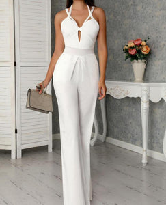 White Crisscross Bandage Wide Leg Jumpsuit - EK CHIC