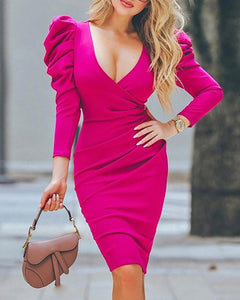 DRESS Puff Sleeve Ruched Bodycon Dress - EK CHIC