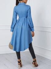 Load image into Gallery viewer, TOPS Lantern Sleeve Button Design Dip Hem Blouse - EK CHIC