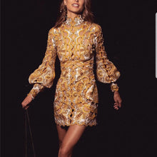 Load image into Gallery viewer, DRESS Vintage Mini Dress Hollow Out Beading Gold Dress - EK CHIC