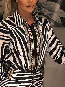 SET Elegant Stylish Party Suit Set - Zebra Print - EK CHIC
