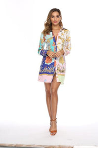 DRESS Digital Print Lose Mini Dress - EK CHIC