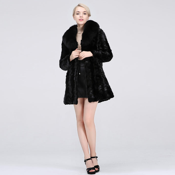 FUR COAT GENUINE MINK Fur Coat W/Fox Collar (Variations) - EK CHIC