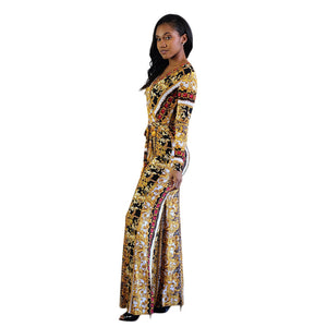 JUMPSUITS Gold Print European Style Jumpsuit - EK CHIC