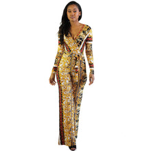Load image into Gallery viewer, JUMPSUITS Gold Print European Style Jumpsuit - EK CHIC
