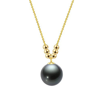 NECKLACE 18K Gold Pearl Pendant Necklace Tahitian/Freshwater - EK CHIC