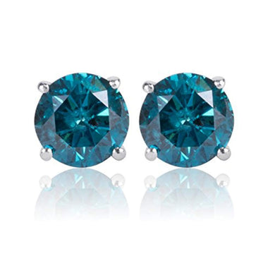 EARRINGS 0.90 Carat Blue Diamond Solitaire Screw Back Stud Earrings Pair in 14k White Gold - EK CHIC
