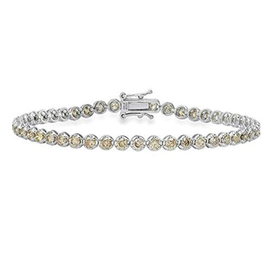 BRACELET IGI Certified 3.00 CT Champagne Diamond Tennis Bracelet-18K White Gold - EK CHIC