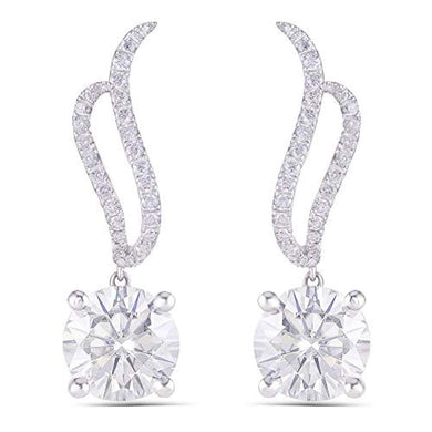 EARRINGS 14K White Gold - 3.4 CT GHI Diamond Earrings - EK CHIC