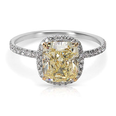 ENGAGEMENT RING GIA Certified Fancy Light Yellow Cushion Cut Diamond Engagement Ring (2.48 CTW) - EK CHIC