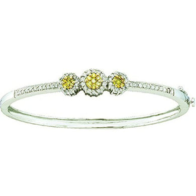 BRACELET 1.05 Carat (ctw) 14K White & Yellow Diamond Bangle Bracelet - EK CHIC