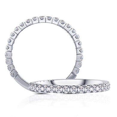ENGAGEMENT RING 14K White Gold 0.48CTW - Half Eternity Wedding Band Guard Ring - EK CHIC