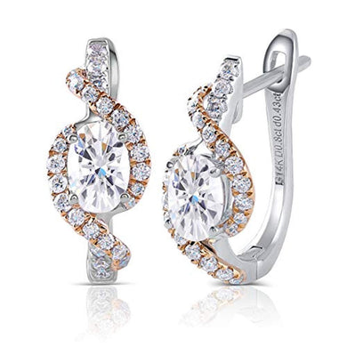 EARRINGS 14K White Gold - 2.46CTW GH Oval Diamond Hoop Earrings - EK CHIC
