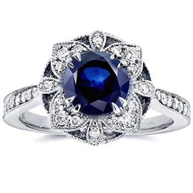ENGAGEMENT RING Antique Sapphire & Diamond Engagement Ring - EK CHIC
