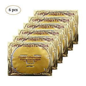 24K GOLD FACE MASKS 6PCS 24K Gold Gel Collagen Crystal Facial Masks For Anti Aging - EK CHIC